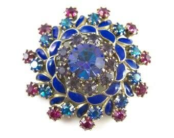 Vintage Weiss Blue Enamel Rhinestone Brooch