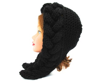 Black Hood Hat - Cable Knit Bonnet - Chunky Earflap Hat - Women's Hat - Fall / Winter Fashion - Knit Accessories