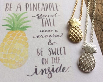 Pineapple Pendant Necklace. Gold and Silver Pineapple Charm. GIft for Her. Birthday Gift. Minimalist. Simple Pineapple Choker Necklace