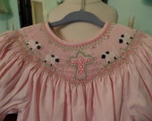 Pink hand smocked bishop size 3T with cross and sheep