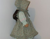Green Flowered Prairie Dress with Pinafore and Bonnet, Fits American Girl and 18 Inch Dolls