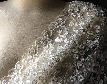 Ivory Lace Fabric Embroidered & Appliqued for Bridal, Regency Gowns, Shrugs, Shawls