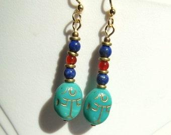 Egyptian Revival-Inspired Lapis Lazuli, Carnelian, Glass Scarab Sun God Earrings