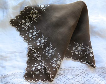 Antique Silk Hankerchief with Hand Embroidered Floral in Brown and Ivory