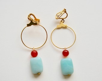 Amazonite & Carnelian Earrings with Plated Metal Hoop in Gold, Clip On/Hooks/Studs, Talisman, Amulet, Good Luck Charm, Hope