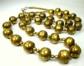 Long Boho WARRIOR Woman Tribal Brass Bead Necklace 1960s India, Archetypal Vintage Statement Necklace, Unusual LENGTH
