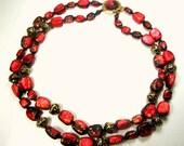 2 Strand Gold and Raspberry Red Bead Necklace, 1960s Hong Kong Mid Century Splatter w Geometric Bead Caps, Artsy Mad Men Era