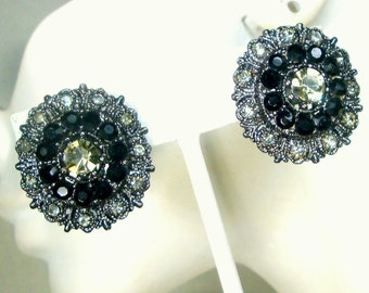 Black and Grey Rhinestone Clip Earrings, Dark Silver Deliberately Oxidized Metal, Mysterious, Elegant and Never Used