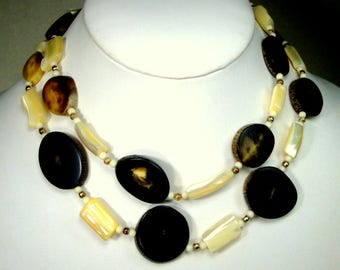 Black Brown Sliced Horn Bead Necklace, and White luminous MOP,  Gold Spacer Beads, 1970s White Brown Black Gold, Land and Sea