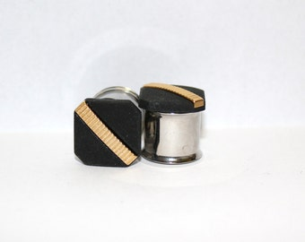 "Simple Black And Gold Square Formal Plugs 9/16"" 14mm Double Flare"