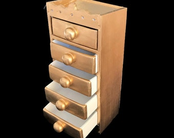 Gold 5 Drawer Jewelry Chest can be Used for Many Items, Keys. Coins, Mints, etc. Use it as Bathroom Organizer. Functional and Decorative.