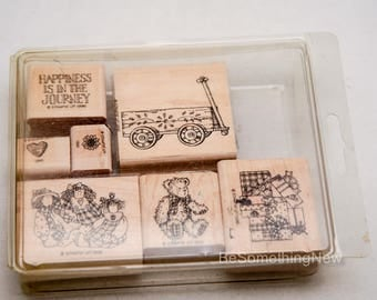 "Stampin Up Rubber Stamps, Wood Mounted Stamp Set from 1996 ""Happiness is in the Journey"" Retired  Stampin Up Set Teddy Bear, Kids Stamp Set"