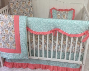 Coral and Mint Floral Fawn Baby Girl Crib Bedding Set