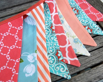 Peach, Coral, Aqua Party Bunting, Fabric Flags - Wedding Banner Decoration - Dessert Table photo prop -- Baby shower table decor