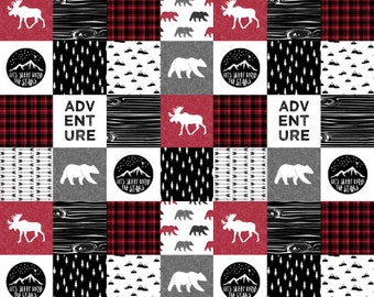 Woodland Adventure Baby Quilt - Wholecloth Quilt in Red or Navy Faux Fur Baby Boy Quilt. Modern baby blanket.