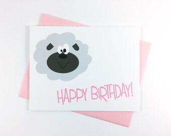 Birthday Card, Happy Birthday Greeting Card, Children's Card, Farm Animal Card, Sheep Card - Single