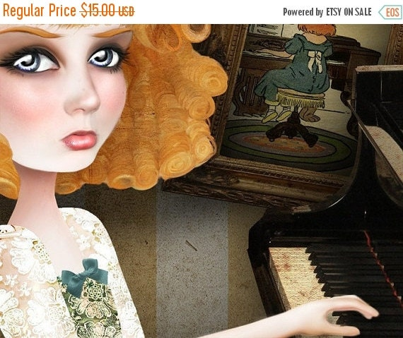 """CHRISTMAS SALE Redhead Lady Playing Piano Print """"Why Dream"""" Fine Art 8.5x11 OR 8x10 Premium Giclee Print of Original Digital collage - Ginge"""