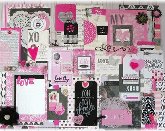 Pretty Things- Love Collection Pink & Black Kit #1: Scrapbook Kit, Mixed Media Kit, Journal Kit