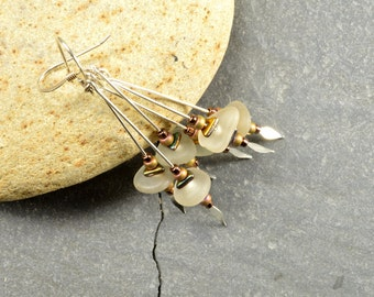 Winter ice      authentic Maine sea / beach glass and sterling silver triple dangle earrings lightweight ecochic fashion jewelry