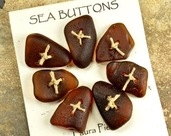 Set of seven chocolate brown  naturally ocean tumbled Maine sea/ beach  glass buttons ecochic  embellishment for knitters