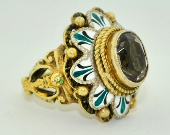 Fabulous Austro-Hungarian Gilt Sterling Silver With Enamel & Citrine Ring