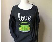 Love Bug Sweatshirt, Scoop neck sweatshirt, vw Beetle, VW Bug, volkswagon,Alternative Apparel sweatshirt, maniac sweatshirt
