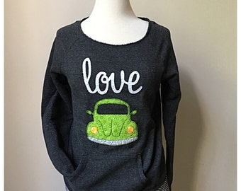 Love Bug Sweatshirt, Scoop neck sweatshirt, vw Beetle, VW Bug, volkswagon,Alternative Apparel sweatshirt, maniac sweatshirt