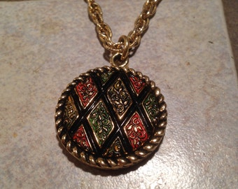Harlequin Goldtone Necklace by Sarah Coventry