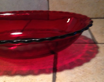 Ruby Red Glass Oval Bowl