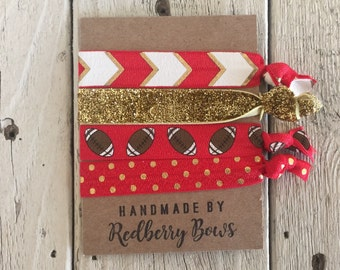 FORTY NINER'S FOOTBALL Hair Ties- set of four red and gold football hair ties or wrist bracelets