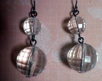 handmade Earrings, dangle, Faceted clear Acrylic balls, lightweight