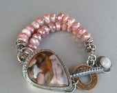 Reserved for Paula - Jasper Bracelet, Moonstone Bracelet, Gemstone Bracelet, Sterling Silver, Faceted Gemstones, Original, Art Jewelry