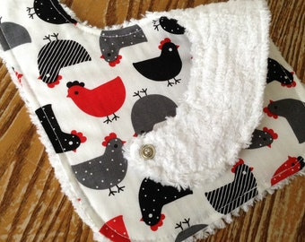 Chenille Back Baby Bib, Snap Closure, Cute Hens, Designer,