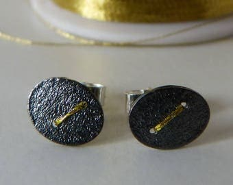 Tiny oxidised silver disc earrings studs with gold thread stitch