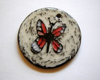 Monarch Butterfly – Pendant – Basket Embellishment – Clay Ornament – Home Décor – Sgraffito Pottery