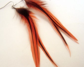 Real Feather Earrings  small orange badger