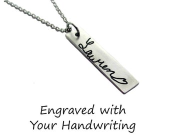 Custom Handwriting Name Bar Necklace with your loved one's actual handwriting, Pewter