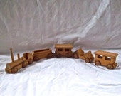 Wood Train Toy Old New Stock Handmade Wood Train Set Christmas Decoration Wood Train Gift Set Child's Train Set Home and Living Christmas