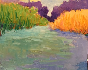 "Dawn on Water - Original Acrylic Oil Encaustic Landscape Painting - 8""x 8"""