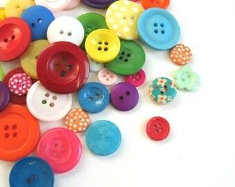 50 x Mixed Craft Buttons, Sewing Buttons, Mixed Button Sizes, Button Assortment Scrapbook Buttons, Polka Dot Buttons, Batch 003