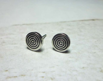 Concentric Circles Stud Earrings, Silver Round Earrings