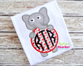 Machine Embroidery Design Embroidery Elephant Monogram Circle INSTANT DOWNLOAD