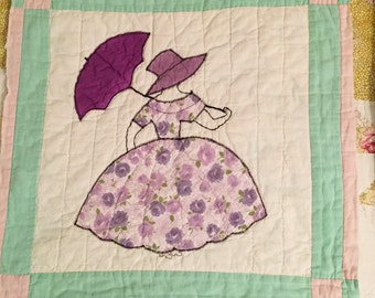 Sewing Craft Supply, Southern Belle Vintage Applique on 1960s Vintage 20 Inch Cotton Quilt Block, Rustic Country Cottage Decor