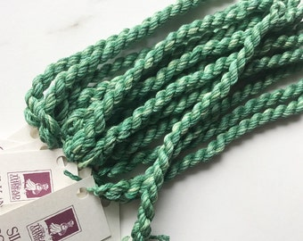 Silk 'n Colors-Gartenfarn. SNC 195. Hand Dyed  by TheThreadGatherer. Silk Embroidery Floss. Embroidery Floss. Green Floss. Cross Stitch.