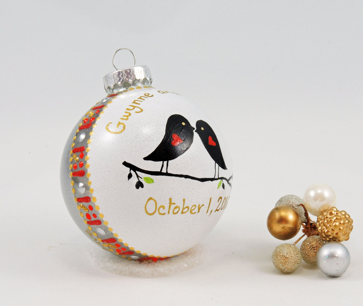 Wedding ornament hand painted personalized glass ball