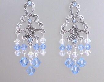 Blue crystal chandelier earrings, Swarovski crystal light sapphire blue sparkly earrings, bridal jewelry, romantic, feminine