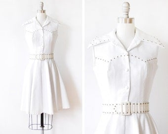white mod dress, vintage 70s mod scooter dress, 1970s sleeveless dress, extra small