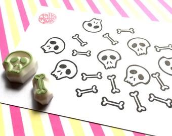 skeleton rubber stamp set. skull stamp. bone stamp. hand carved stamps. halloween scrapbooking. gift wrapping. diy gift tags. set of 2