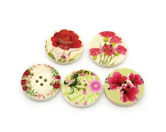 Summer Flowers wood sewing buttons - 5 Mixed Patterns craft buttons (BB1005K)