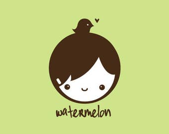 Custom Rubber Stamp   Custom Stamp   Personalized Stamp   Gifts for Him   Doll Stamp   Boy Stamp   Bird Stamp   Watermelon   C94